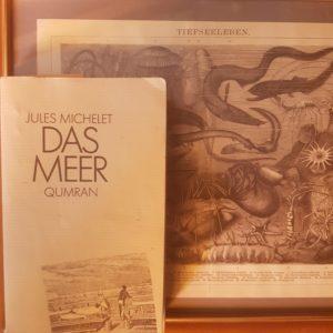 """Das sehr alte Buch """"Das Meer"""" vor einer alten Zeichnung mir Tiefseelebewesen"""