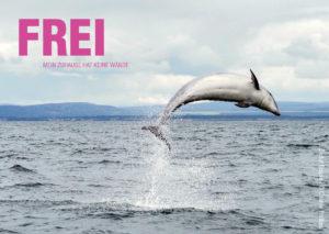 Ein Delfin springt aus einem freien Gewässer. In der oberen Ecke des Bildes steht der Text: Frei, mein Zuhause hat keine Wände