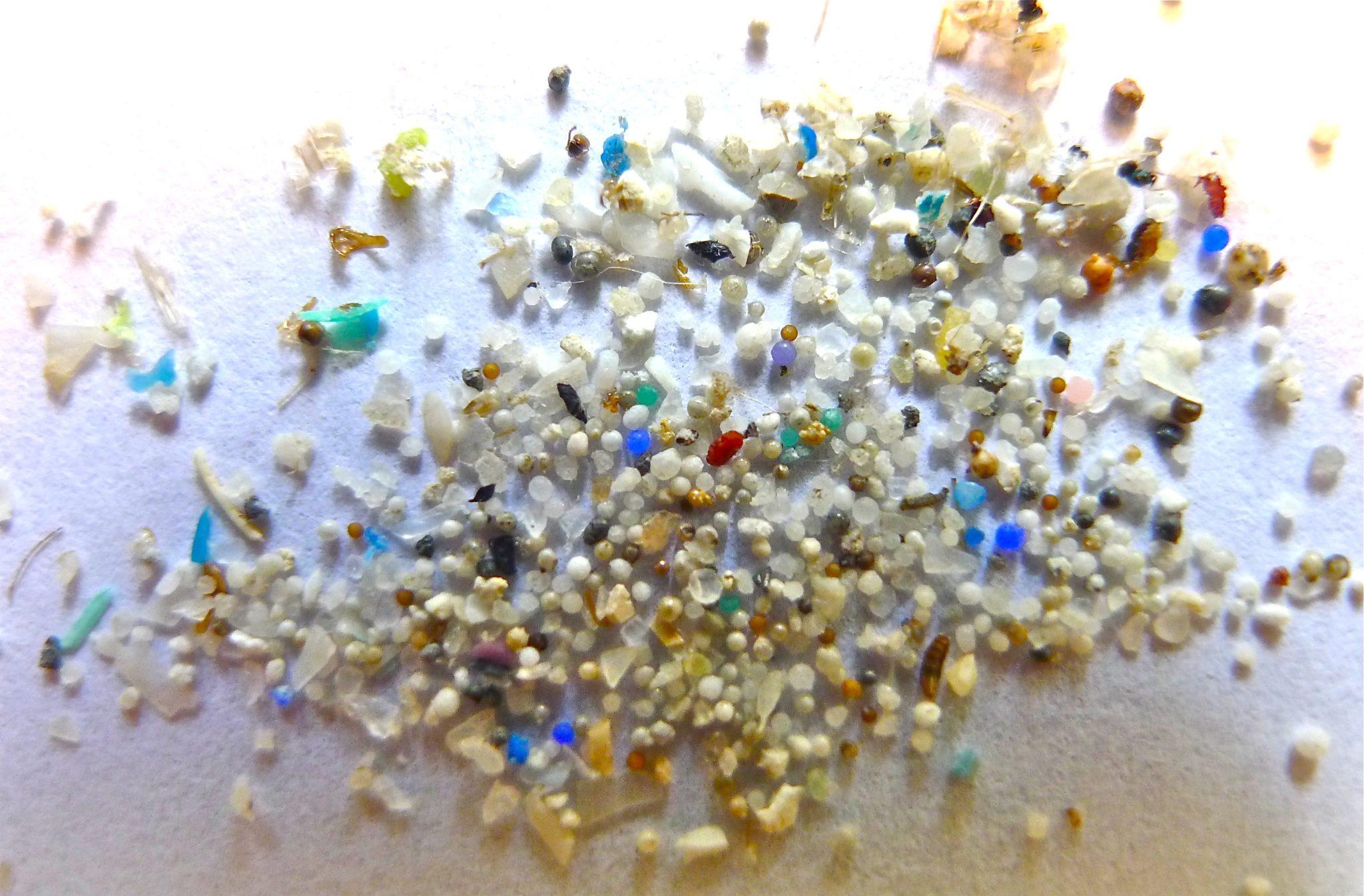 ganz viele kleine Sandkörner und Mikroplastik liegt auf einer hellen Unterlage