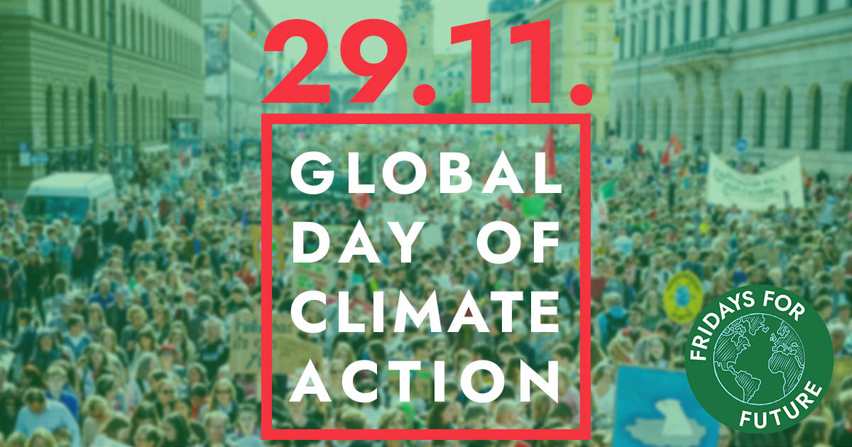 29. November 2019, Global Day of Climate Action, Streikende bei Klimadenmonstration auf der Straße