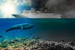 Kreuzfahrtschiff fährt über ein gesundes Meer. Ein großer Wal ist vor dem Schiff. Hinter dem Schiff ist alles grau und tod. Große Schadstoffwolken ziehen hinter dem Schiff her.