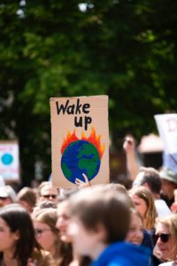 """Demonstration der fridays for future Bewegung. Man sieht eine Menschenmenge aus der ein selbst bemaltes Schild mit der Aufschrift """"wake up"""" herausragt. Unter der Schrift ist eine brennende Erdkugel gemalt."""