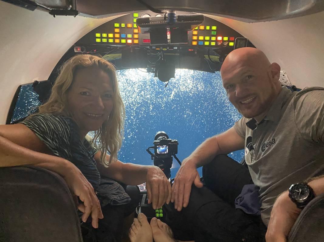 Alexander Gerst und Antje Boetius im Tiefsee U-Boot