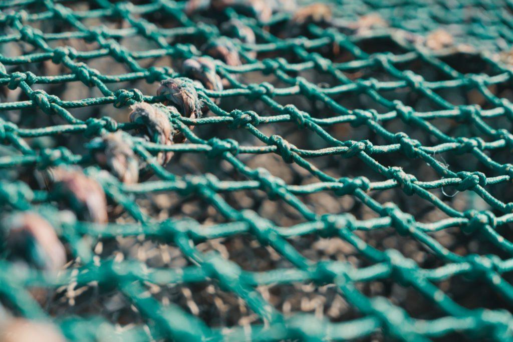 Nahaufnahme eines türkisen Fischernetzes an Land. Der Fokus liegt auf dem Netz, der Rest ist verschwommen