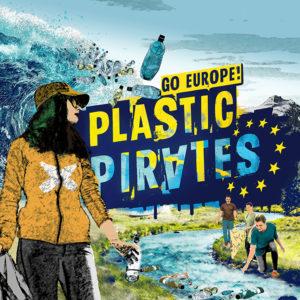 """Das Titelbild der Aktion """"Plastic Pirates - Go Europe!"""". Man sieht mehrere junge Menschen an einem Fluss, die Müll sammeln."""