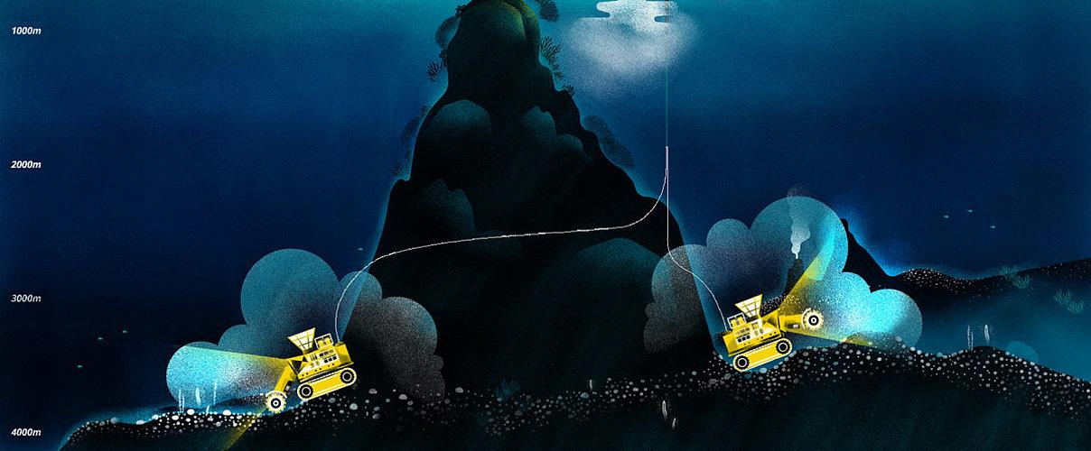 Eine gemalte Darstellung vom Tiefseebergbau
