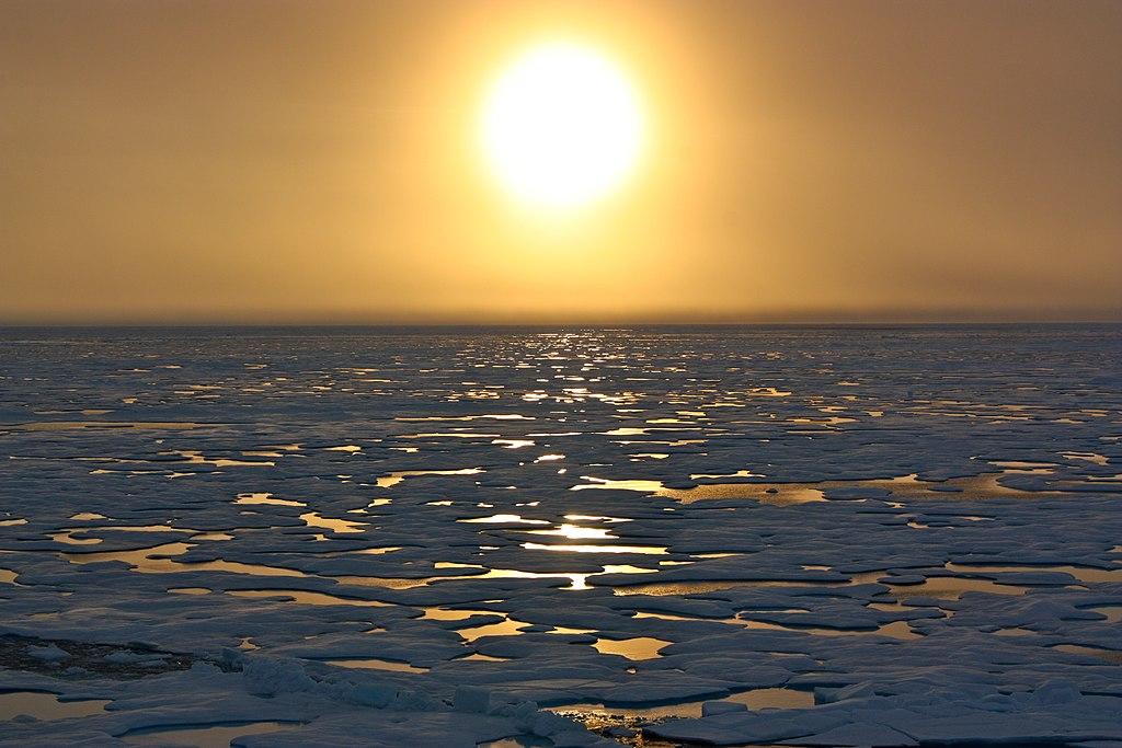 Viele kleine Eisschollen werden von der untergehenden Sonne am Horizont angestrahlt